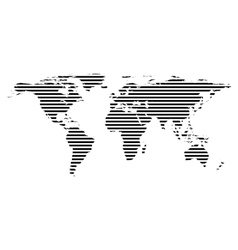 Black linear symbol of world map on white vector image