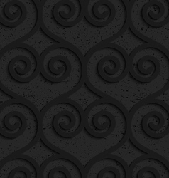 Black textured plastic swirly hearts in slim grid vector image