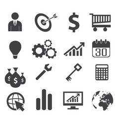 black white business concept icons vector image