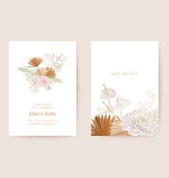botanical dalia wedding invitation card template vector image