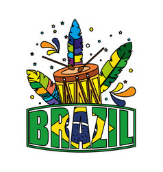 Brazilian label with flag and drum vector