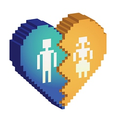 Broken heart 3d pixels vector