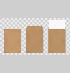 Brown envelope a4 template blank paper covers set vector