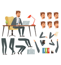 Businessman workspace mascot creation kit vector
