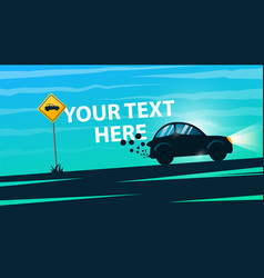 car road sign cartoon landscape vector image