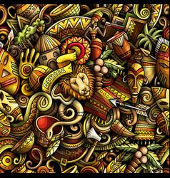 Cartoon doodles africa seamless pattern vector