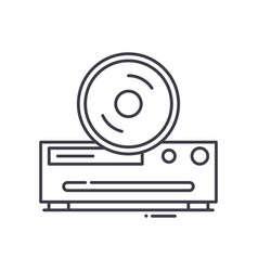 Cd player icon linear isolated thin vector