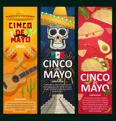 Cinco de mayo mexican holiday banners vector
