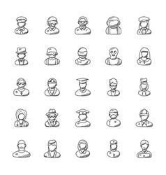 Collection professions doodle icons vector