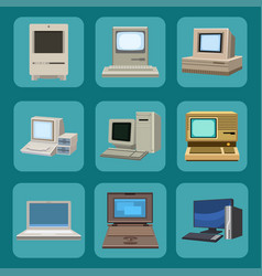 computer technology evolution display vector image