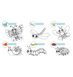 connect dots cartoon insects game cute insect dot vector image