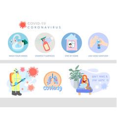 Coronavirus prevention icon and symbol set covid vector