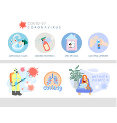 coronavirus prevention icon and symbol set covid19 vector image