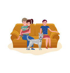 couple with kid and dog sitting on sofa calm vector image