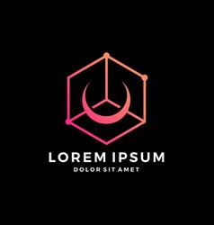 Crescent moon box tech hexagon cube logo download vector