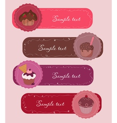 Cupcakes banners set vector