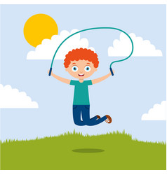 cute boy playing jumping rope in the park vector image