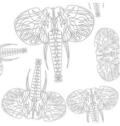 Cute elephants seamless pattern background vector