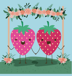 Cute strawberry couple in landscape kawaii vector