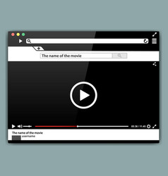 design internet browser video player template vector image
