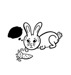 doodle rabbit with fa carrot vector image
