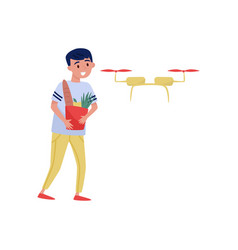 drone quadrocopter delivered groceries to young vector image