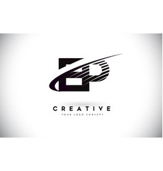 Ep e p letter logo design with swoosh and black vector