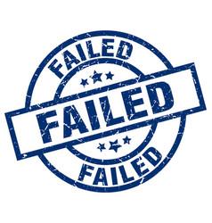 Failed blue round grunge stamp vector