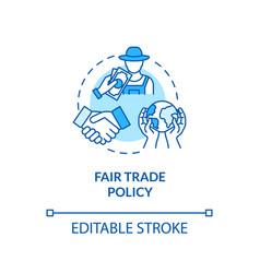 Fair trade policy turquoise concept icon vector