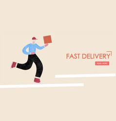 Fast delivery deliveryman runs with a box in his vector