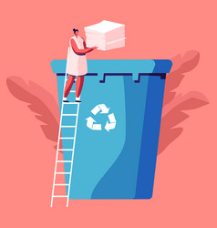 Female character throw paper trash into litter bin vector