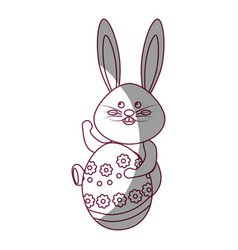 figure rabbit easter with decorated egg in the vector image