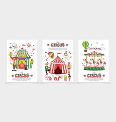 Flat circus posters vector
