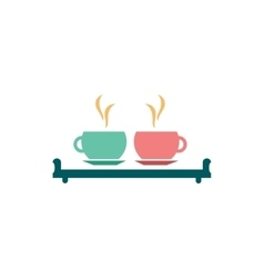 flat icon on white background couple cups vector image