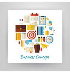 Flat Style Circle Set of Business Workplace and vector image