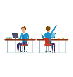 front and back view of in education room at table vector image