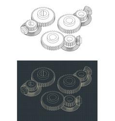 Gears drawings vector