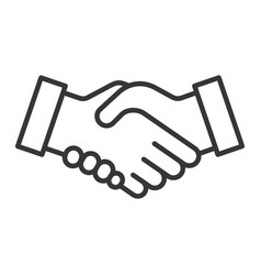 handshake icon on white background line style vector image
