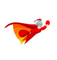 happy christmas red flat santa claus superhero vector image