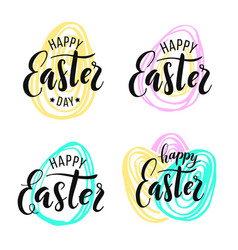 happy easter lettering on hand drawn background vector image