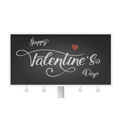 happy valentines day billboard with hand-drawn of vector image