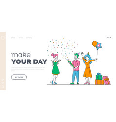 Holiday celebrating landing page template girl vector