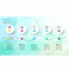 infographics design on bokeh abstract background vector image
