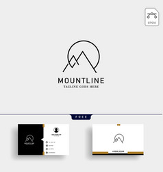 initial m mountain lineart logo template and vector image