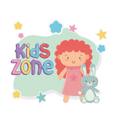 kids zone cute little doll and rabbit toys vector image