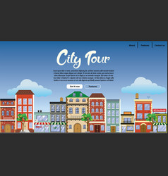 Landing page design downtown with flat style vector