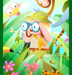 little fox goes hiking adventure in summertime vector image