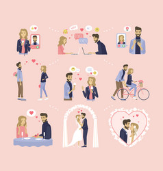 Love dating and wedding couple relationship vector