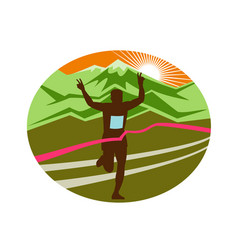 marathon finisher oval vector image