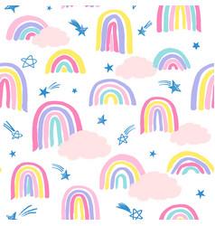 Marker rainbows and shooting stars vector